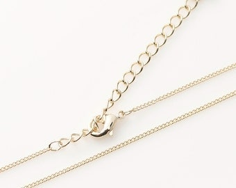 "5300001 / 16"" Chain, 130 S Finished Chain with Lobster Clasp / 16k Gold Plated Brass / 16"" with Extra 2"" / 4pcs"