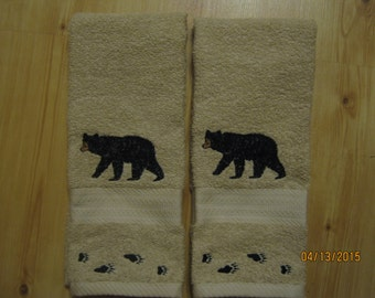 New 2 Black Bear with Tracks Tan Hand Towels, Lodge Cabin Decor, Northwoods