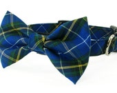 Blue and green tartan dog collar and bow tie & cat collar and bow tie - adjustable with bell (optional)