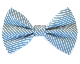 Blue/Grey and white striped - cat and dog bow tie
