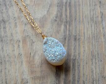 White Druzy Necklace- Gold Druzy Necklace