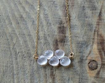 Rose Quartz Drop Necklace- Minimalist Necklace- Layering Necklace