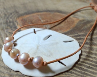Freshwater Pearl and Leather Necklace- Blush/Pink Pearl Necklace- Pink Pearl and Leather Necklace- Multiple Pearl Necklace- 5 Pearl Necklace