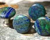 Chrysocolla and Pyrite Cabinet Knobs  - Set of 2, Stone Cabinet Knobs or Pulls, Kitchen cabinet knobs, Chrysocolla, Pyrite