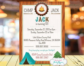Camping Birthday Party Invitation - Campout Birthday Party Invite