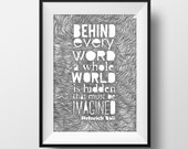 Every Word Quote - Illustration- Ink- Drawing - Art