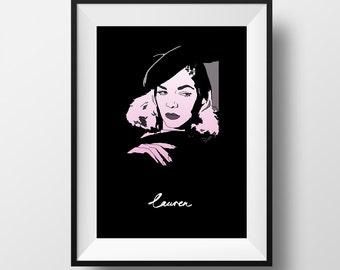 Lauren Poster - Lauren Bacall - Graphic Illustration 8x10 - Art Print