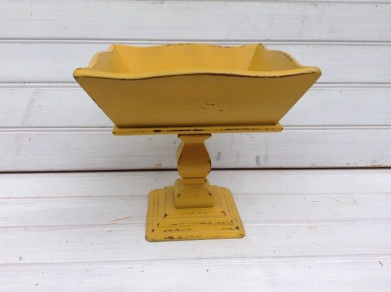 marigold yellow square pedestal holder home decor display