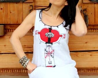 M-L summer ethno appliqued tibal boho folk dress