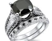 4.60ct Black Cushion Cut Diamond Engagement Ring Bridal Set 14k White Gold