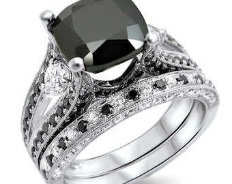 Black Cushion Cut Diamond Engagement Ring Bridal Set 4.60ct 14k White Gold