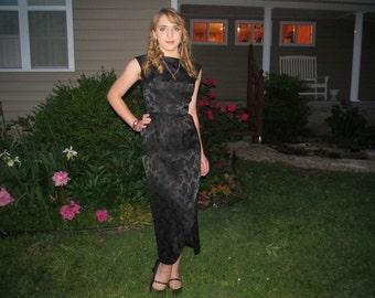 Black Satin Pencil dress, Maxi Dress, Roses print dress, Long Evening dress, size 8-10