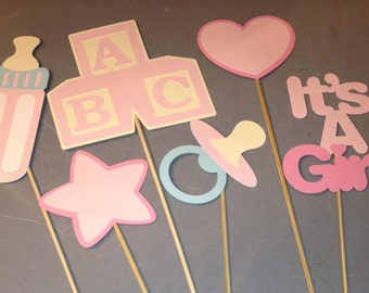 6 piece It's a Girl Centerpiece, It's a girl baby shower, Baby shower