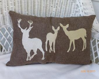 Burlap Pillow - Embroidered Deer pillow - animal pillow - Fathers Day Gift - Burlap deer pillow - wildlife pillow - deer silhouette