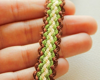 Brown, Green And Beige Thread Lace Trim, 15mm wide - 030315L3