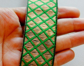 Green And Copper Thread Embroidery One Yard Lace Trim 32mm Wide - 030315L46