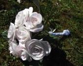 Bouquet de mariage éternel porcelaine froide, personnalisable , modelé main pétale par pétale