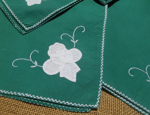 6 Large Green Napkins  French Cotton Handmade White Flower Applique Embroidered #sophieladydeparis