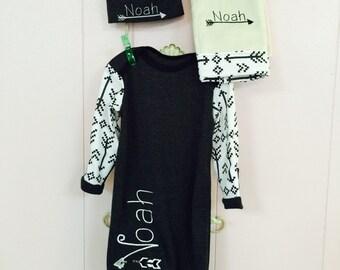 Tribal Design Infant Gown/Arrow Design/Arrow Design Set/Tribal Infant Set