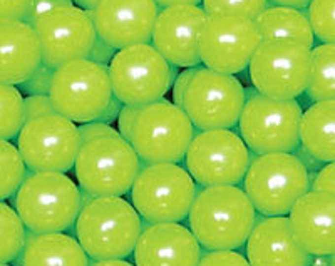 Lime Green Pearl Candy Beads Edible Cupcake Decorations (2 ounces)