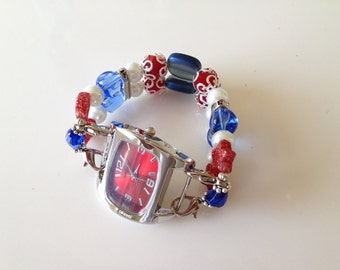 4th of July Double Stranded Red White & Blue Beaded Watch Band Set (262)