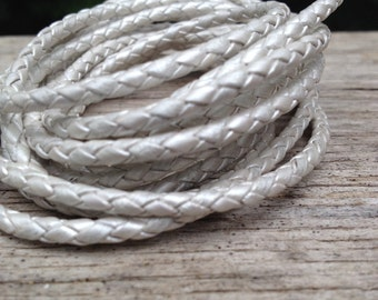 Pearl white bolo cord, 3mm braided bolo leather