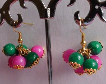 Handmade earrings.Dangle earrings.Women's jewelry.Natural stone bead earrings.Women's earrings.