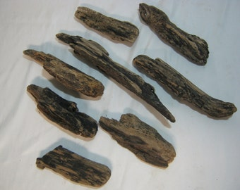 Driftwood Pieces - Rustic Home Decor Craft Supplies - 8 Dark Pieces