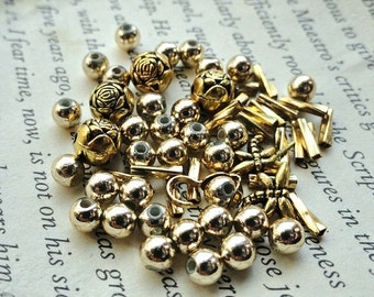 Brass Beads & Findings, 4.9 grams, Jewelry Making Filler, Spacer, Accent, Craft Supplies