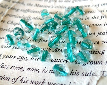 Beads, Turquoise, Diamond, Clear, 5 & 8mm, Jewelry Making. Filler, Spacer, Accent, Craft Supplies, Destash