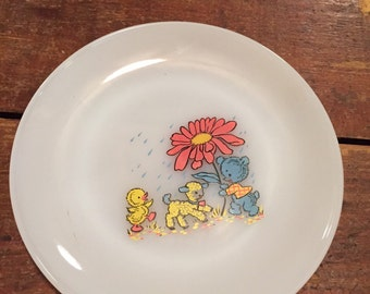 Scarce Fire King child's kiddie mealtime plate lamb bear & duck