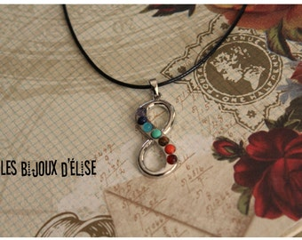 Sale 50% - Infinity Chakra Necklace Reiki Healing Necklace Pendant with 7 Rhinestones Jewelry (CH7)
