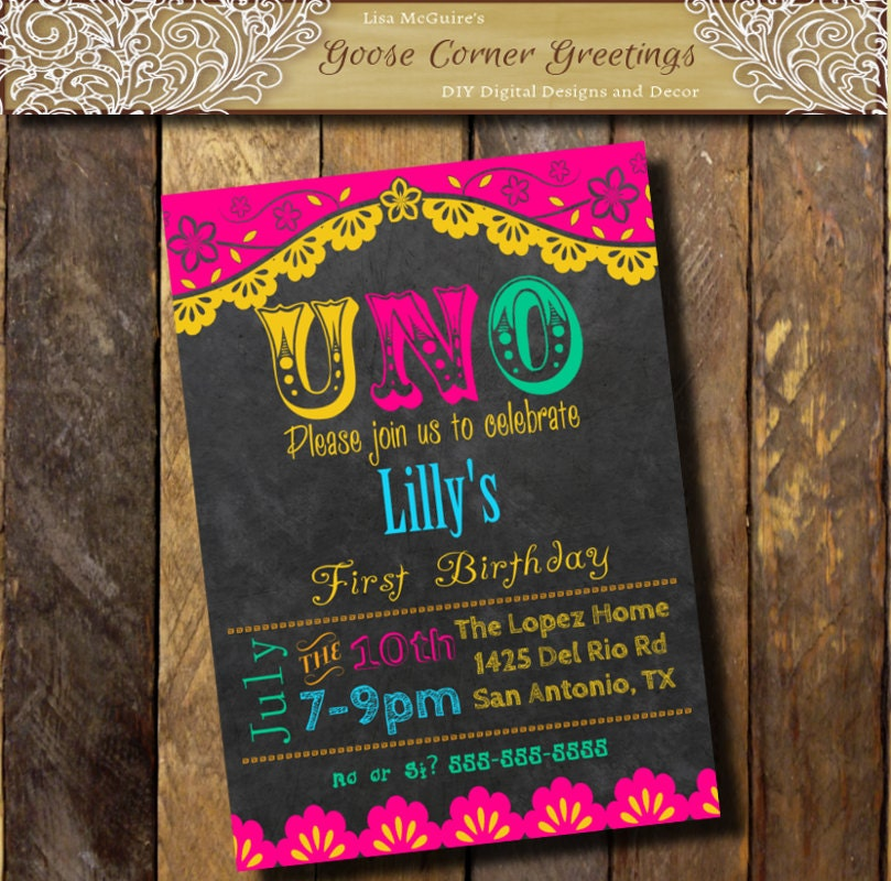 Printable invitacion FIESTA 1st Birthday Party Invitation