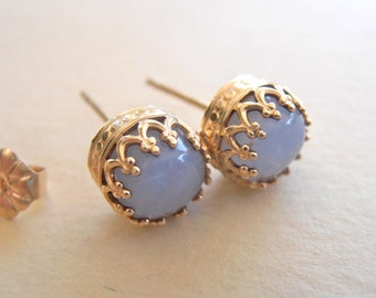 Blue Calcedony Stud Earrings, 8mm Calcedony 14K Yellow Gold Filled Handcrafted