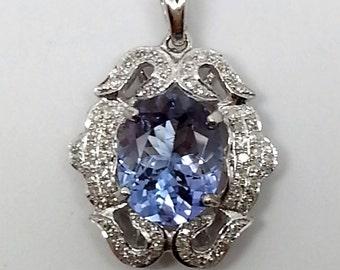 1.75ctw Oval Tanzanite and Diamond 14kt White Gold Pendant