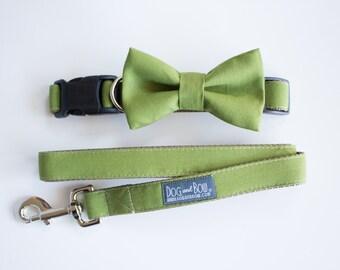 Dog Bow Tie In Olive Green, Dog Collar, Dog Leash