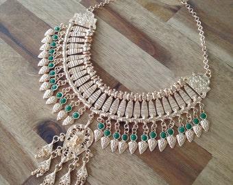 Isabelle - gold & jade turkish statement necklace