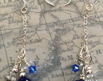 Blue Silver Dangle Earring