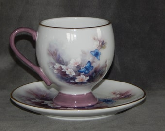 """Vintage Lena Liu Teacup and Saucer """"Blossoms and Butterflies"""