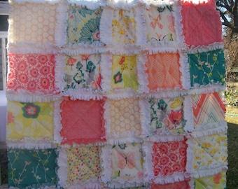 Baby Quilt,  Coral Teal Aqua Yellow Butterflies Crib Rag Quilt Baby Girl Crib Bedding Rapture Minky Shabby Chics Mint Peach Nursery Decor