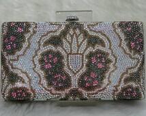Swarovski ELEMENTS Tribal pattern Minaudiere Multi Pink White Green Gold Bridal Wedding Crystal Party Metal case box clutch purse bag