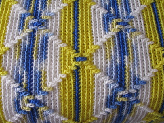 Navajo Pattern Crocheted Afghan in Blues and Yellows
