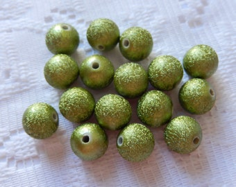 15  Satin Brushed Olive Green Textured Round Acrylic Beads  10mm