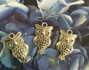 "3 pcs  Owls pendant  1""x 0.5""  Silver Plated,  owl face Chains/Charm Pendants,  silver plated owl pendant"