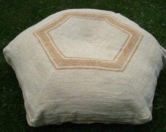 Vintage grain sack dog bed, floor pillow cushion, with CUSTOM INTERNAL PILLOWCASE