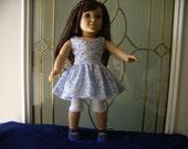 Trendy 18 inch dolls clothes, blue floral sundress,leggings & shoes FINAL MARK DOWN