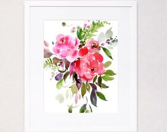 Fuchsia Scarlet Peony Burst Watercolor Art Print