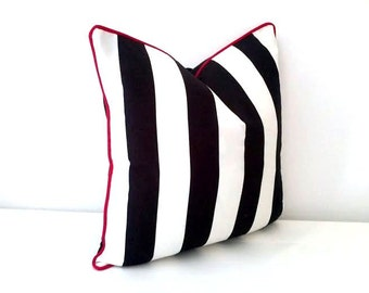 Black And White Striped Throw Pillow Cover 16 By