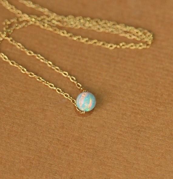 Opal necklace - tiny dot necklace - opal bead necklace - everyday necklace - green opal - a tiny opal bead on a 14k gold vermeil chain