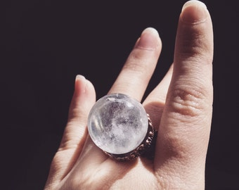 Clear Quartz Crystal Orb ring with adjustable base